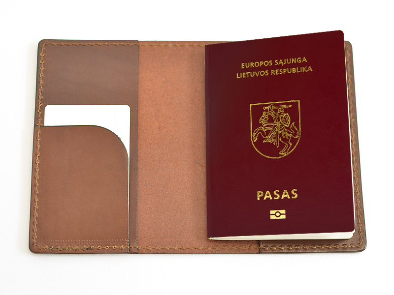 83 Pass ID cover holder  trips natural leather   in USE  copy
