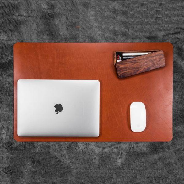 Stalo odinis kilimėlis iš natūralios odos - kompiuterio padelis staltiesė- Praktiškos dovanos vyrams