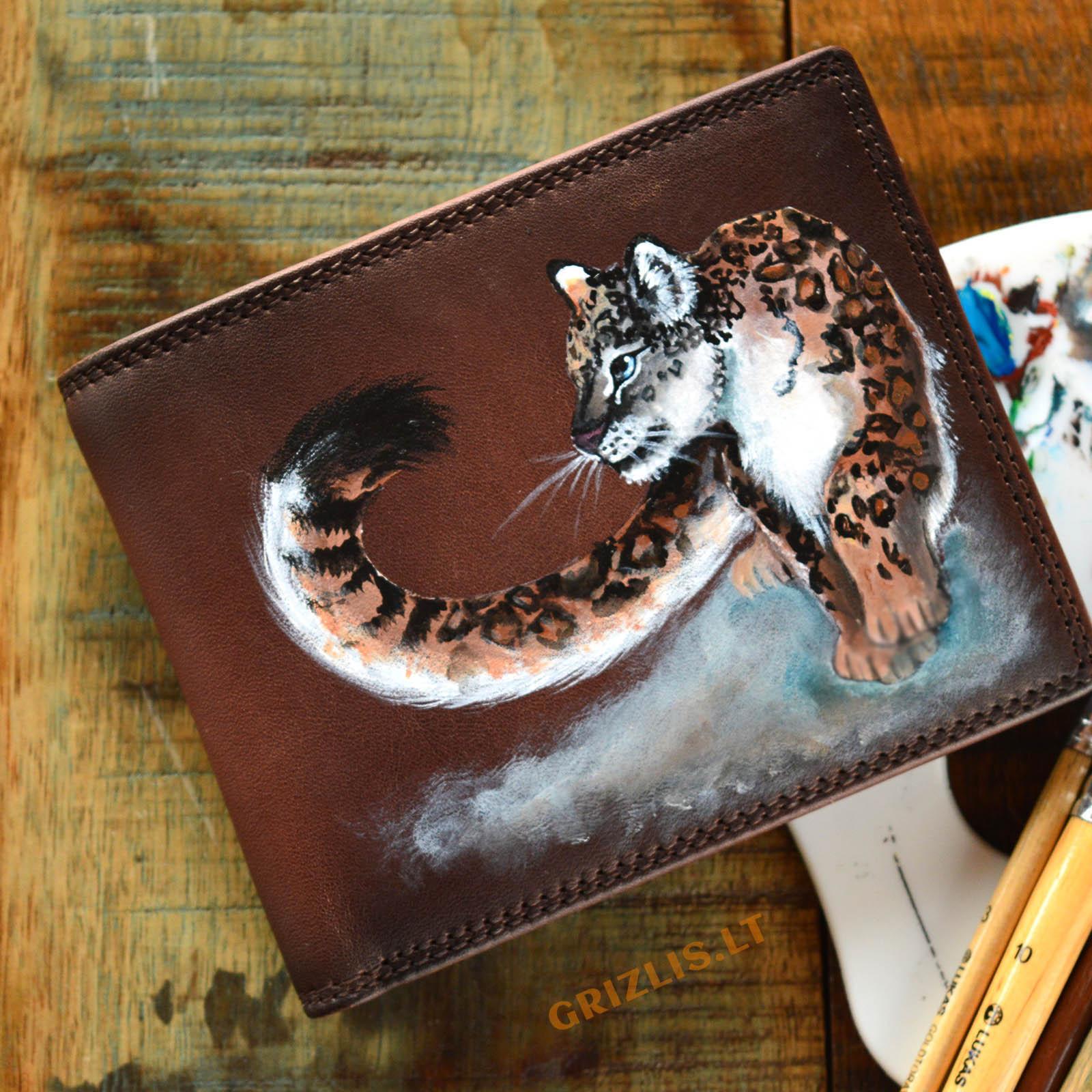 vyriska sendinta ruda odine pinigine su piesiniu iliustracija puma gepardu tigru leopardu lusimi liutas meniskos dailinink is naturalios odos gimtadienio dovanos vyrams teciui sunui vaikinui isskirtines ranku darbo vienetines orginalios unikalios 71r2