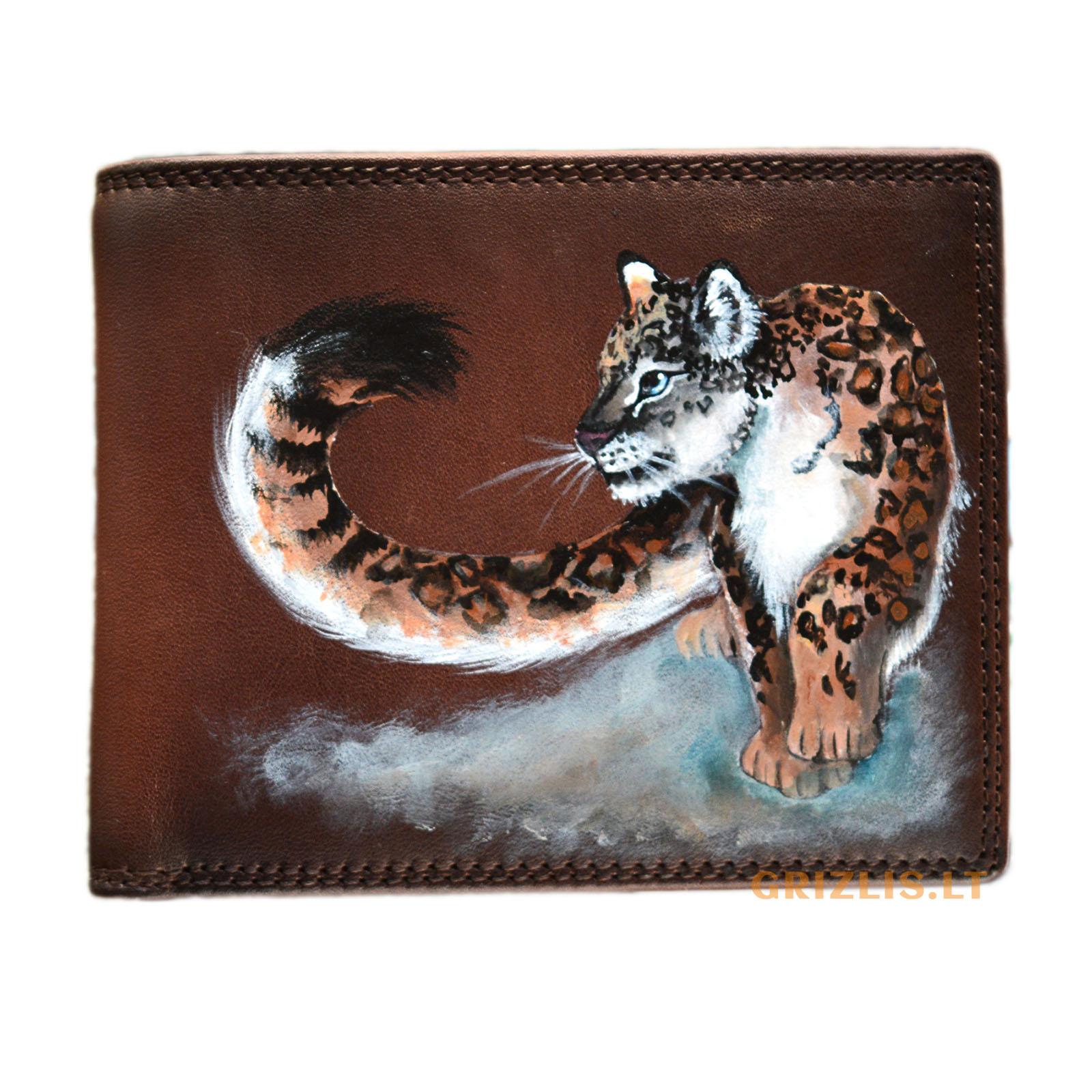vyriska sendinta ruda odine pinigine su piesiniu iliustracija puma gepardu tigru leopardu lusimi liutas meniskos dailinink is naturalios odos gimtadienio dovanos vyrams teciui sunui vaikinui isskirtines ranku darbo vienetines orginalios unikalios 71r3