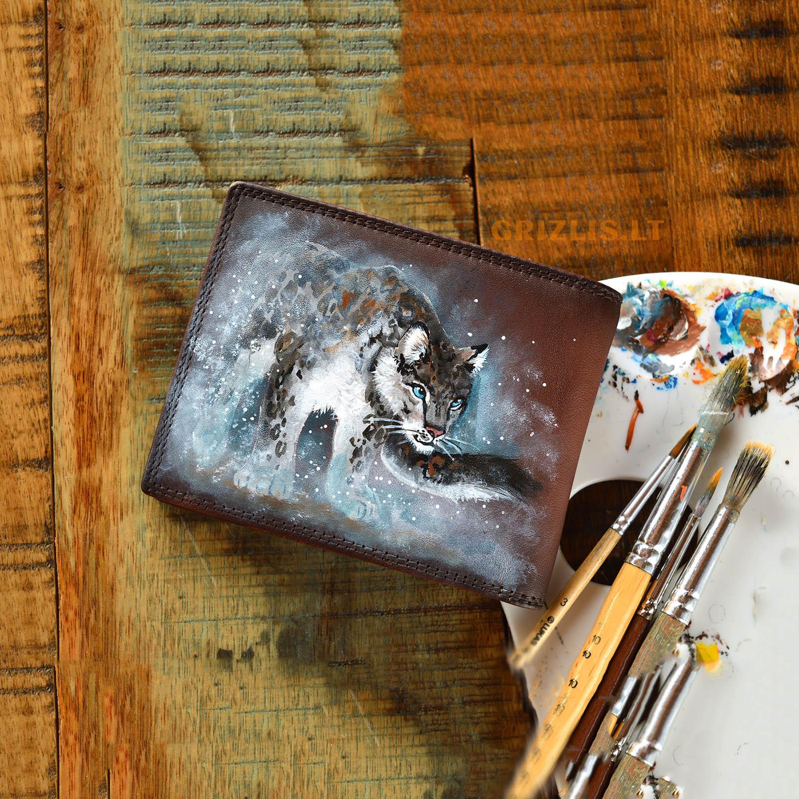 vyriska sendinta ruda odine pinigine su piesiniu iliustracija puma gepardu tigru leopardu lusimi liutas meniskos dailinink is naturalios odos gimtadienio dovanos vyrams teciui sunui vaikinui isskirtines ranku darbo vienetines orginalios unikali 71r5