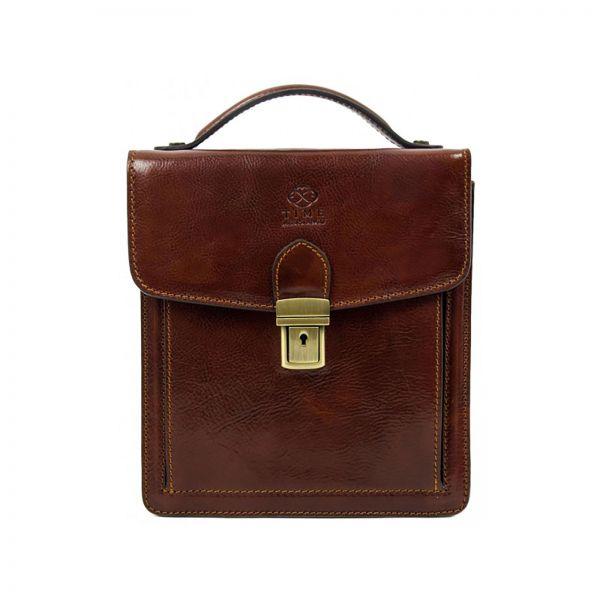 italiskas odinis portfelis vyramas nedidelis uzsegamas funkcionalus rudas stilingas uzsegasmas uzrakinamas su patogia rankena su dirzu per peti