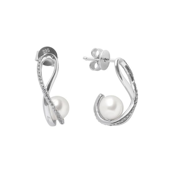 Riesti PERLU AUSKARAI SU cirkoniais Unikalaus dizaino perliniai balti auskarai su naturaliais perlais dovana gimtadieniui jubiliejui kaledoms moterims mamai mamai zmonai merginai panelei meiluzei dukrai mociutei sesei sk188449e