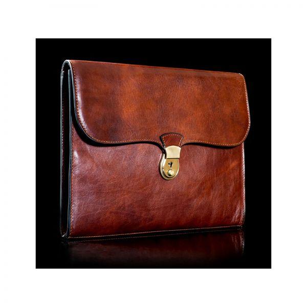vyriskas odinis portfelis rankine uzsegamas uzrakinamas prabangus plonas elegantiskas  aplankas detuve italu gamyba rudas