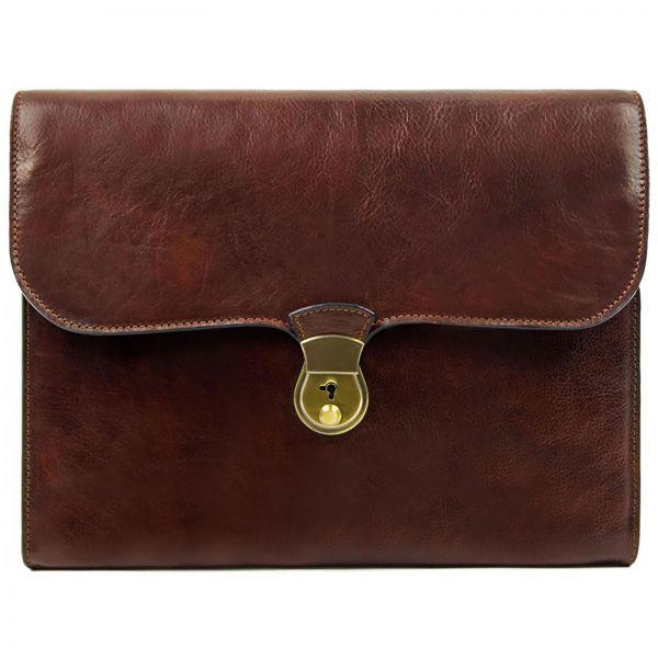 Moteriskas elegantiskas rudas odinis prabangus portfelis tase tinka kompiuteriui 13 coliu uzsegamas italu gamybos